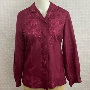 Red Peacock Vintage Silk Embroidered Top